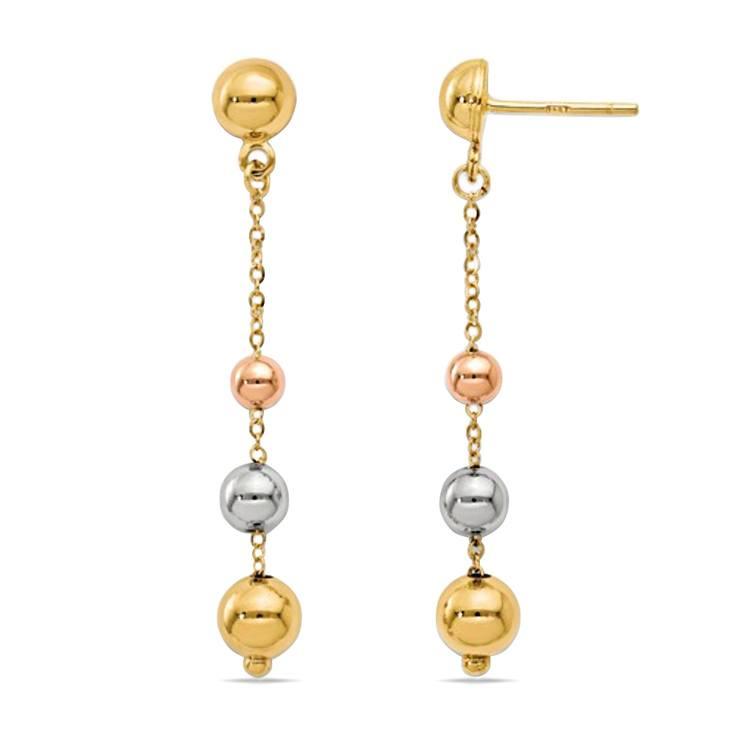 Tri-Color Diamond Cut Dangle Earrings in 14K Gold | 02