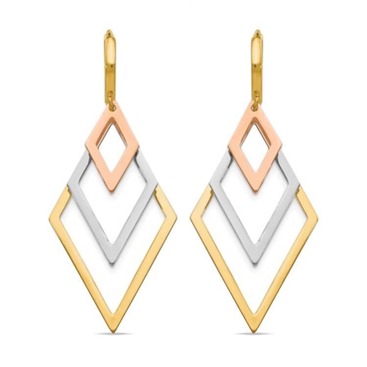 Tri-Color Hoop Earrings with Dangles in 14K Gold | 01