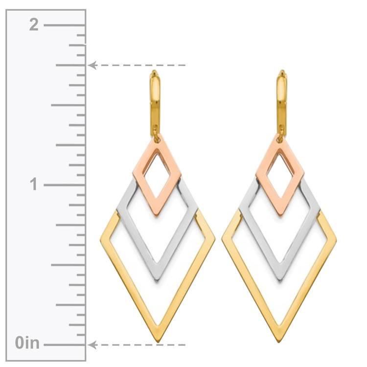 Tri-Color Hoop Earrings with Dangles in 14K Gold | 03