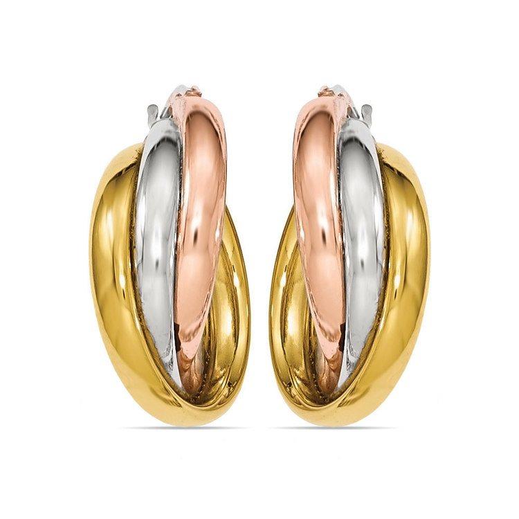 Tri-tone Gold Hoop Earrings | 02