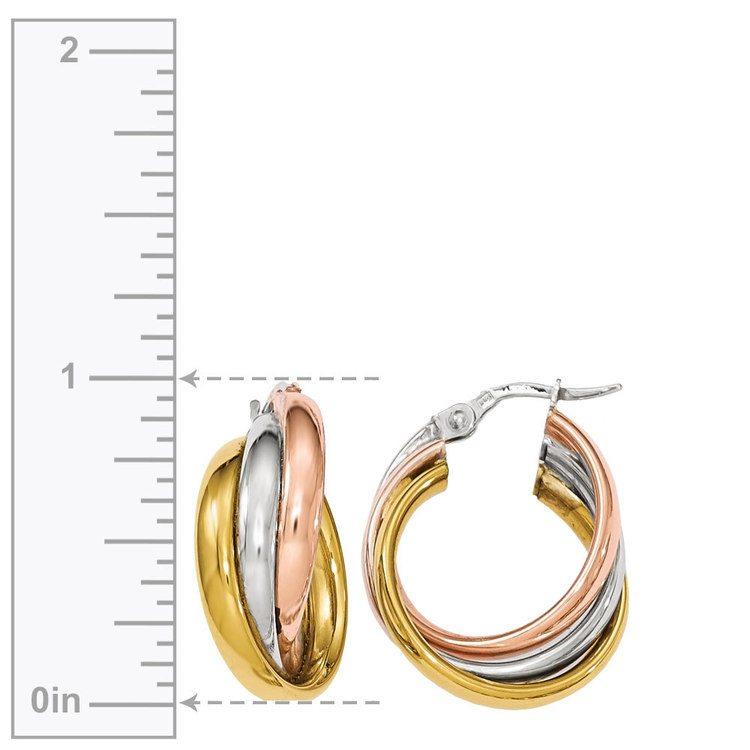 Tri-tone Gold Hoop Earrings | 03