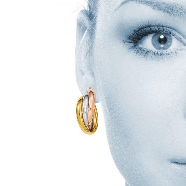 Tri-tone Gold Hoop Earrings | 04