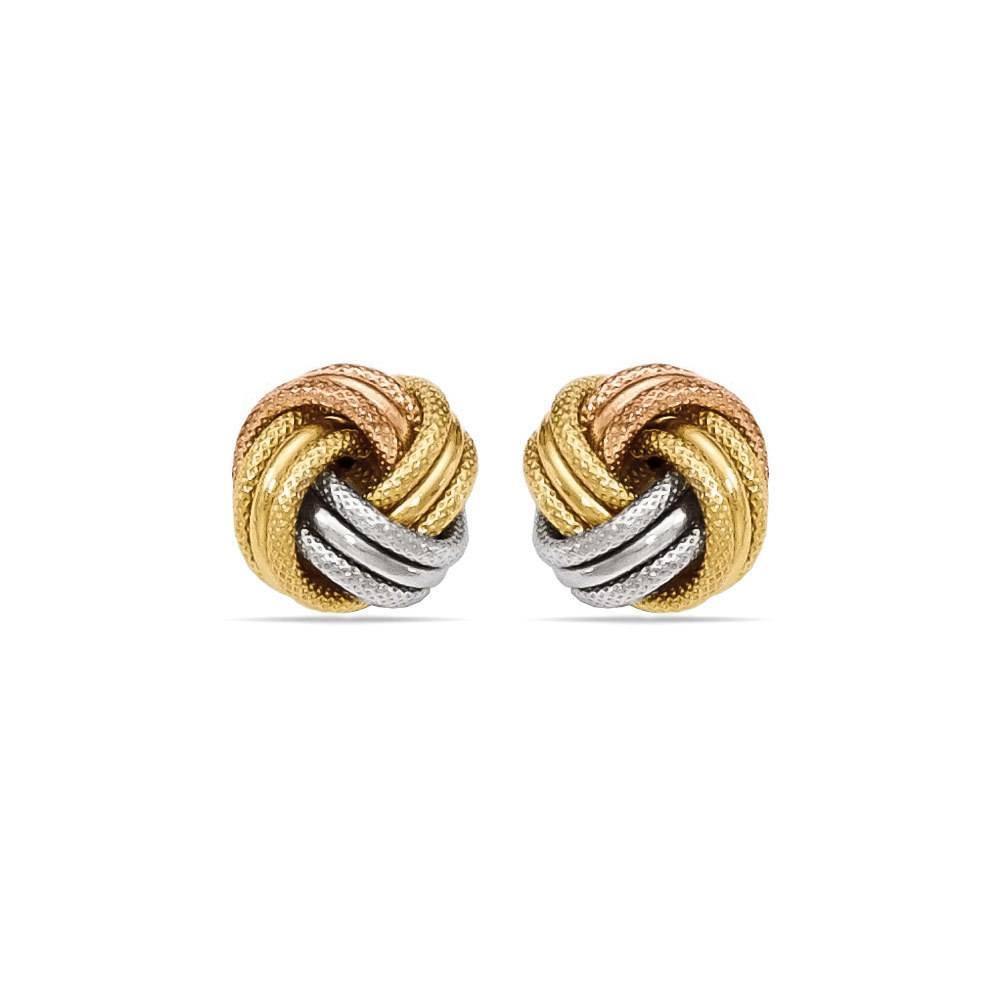 Tri Tone Gold Love Knot Stud Earrings