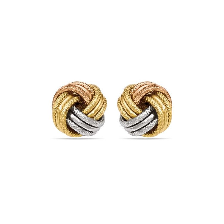 Tri-tone Gold Love Knot Stud Earrings | 01