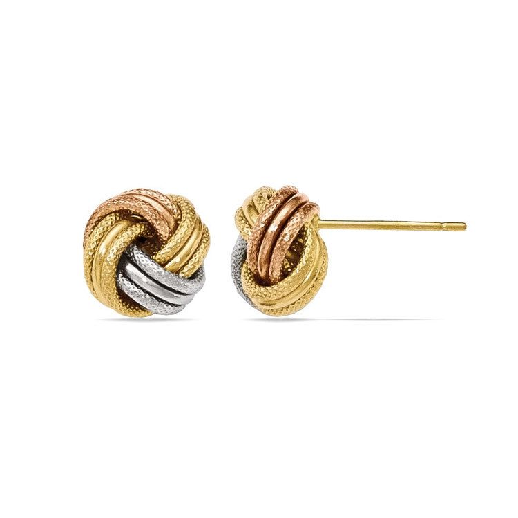 Tri-tone Gold Love Knot Stud Earrings | 02