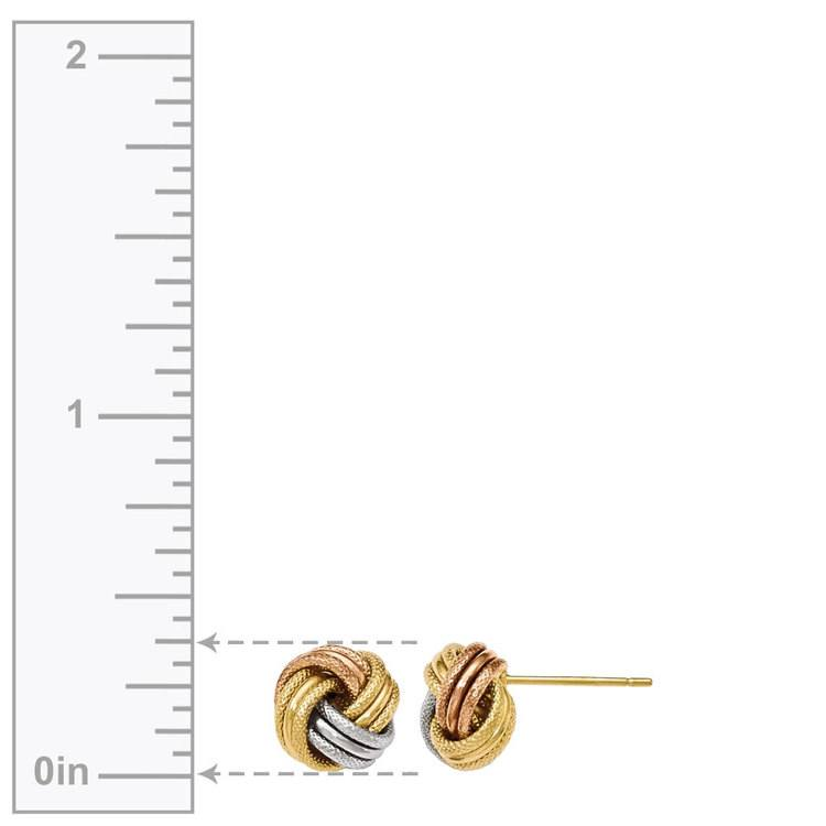 Tri-tone Gold Love Knot Stud Earrings | 03