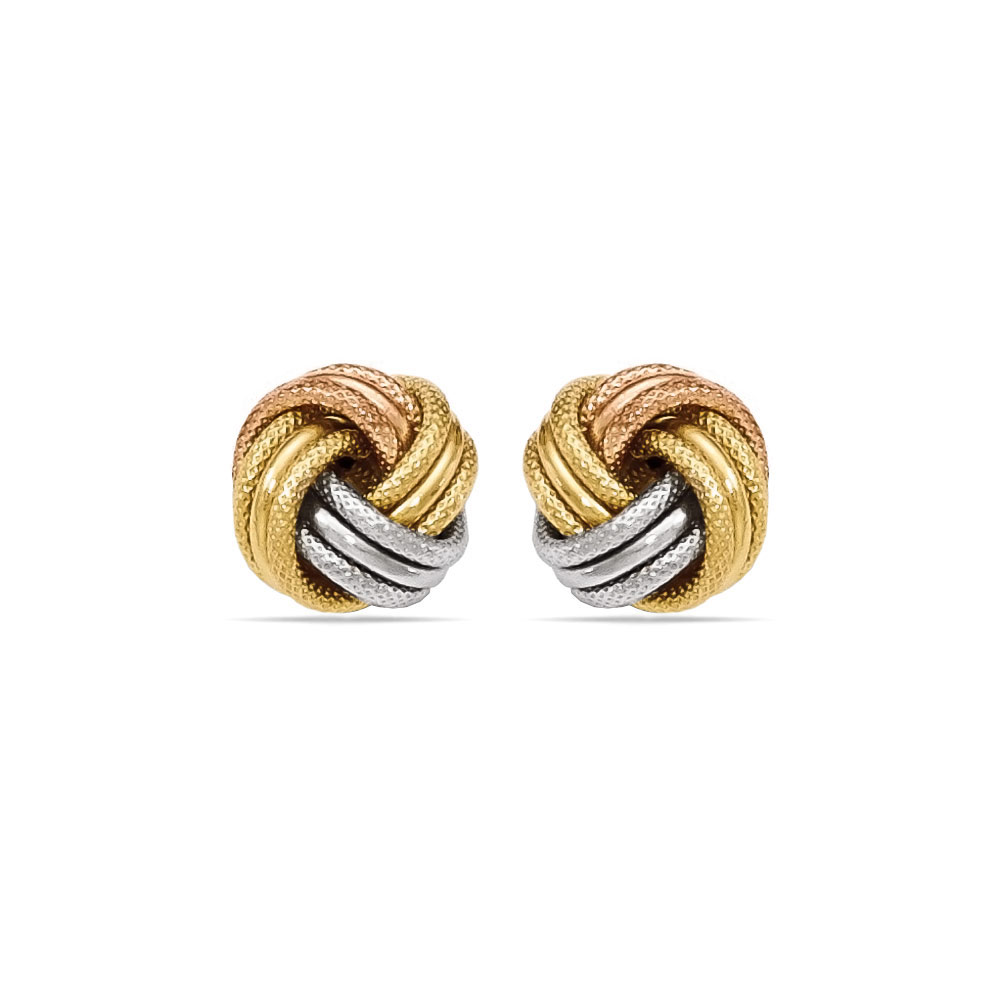 Tri Tone Gold Love Knot Stud Earrings