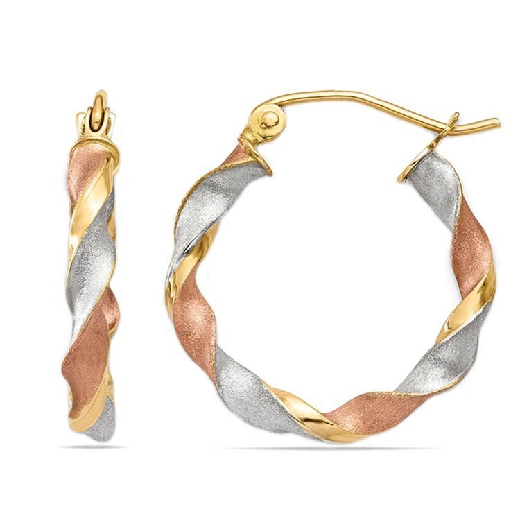 Tri-Tone Satin Twist Hoop Earrings | 01
