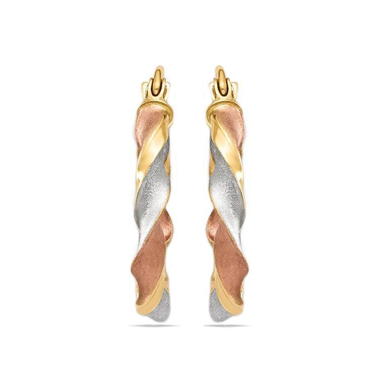 Tri-Tone Satin Twist Hoop Earrings | 02