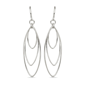 Triple Hoop Dangle Earrings in Silver