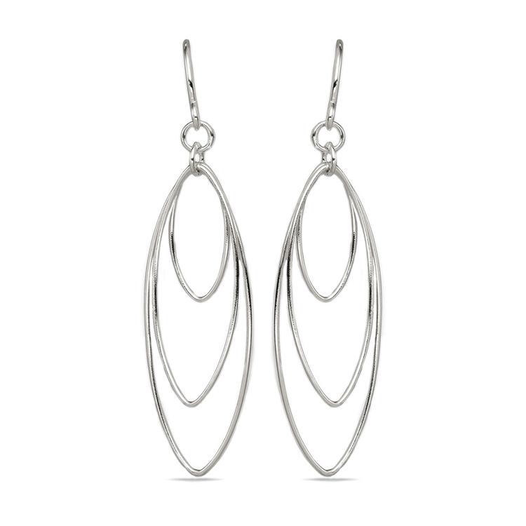 Triple Hoop Dangle Earrings in Silver   01