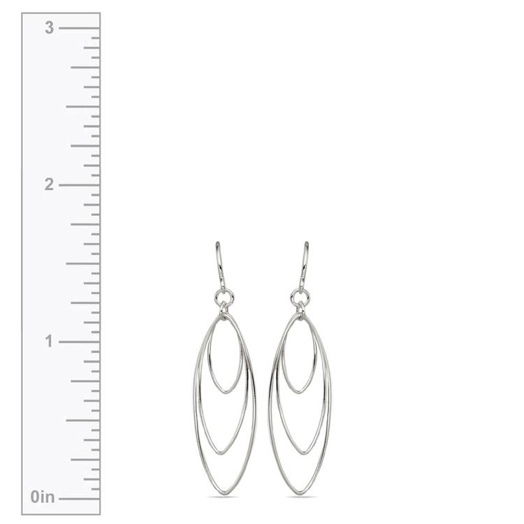 Triple Hoop Dangle Earrings in Silver   03