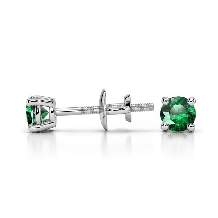 Tsavorite Round Gemstone Stud Earrings in Platinum (3.2 mm) | 03