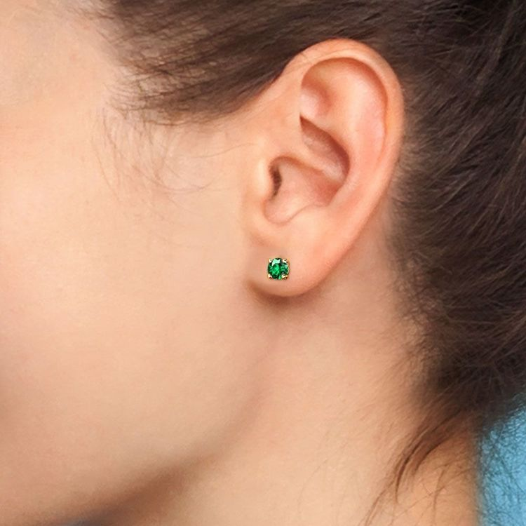Tsavorite Round Gemstone Stud Earrings in Yellow Gold (3.2 mm) | 05