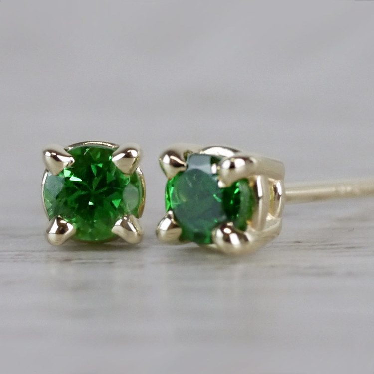 Tsavorite Round Gemstone Stud Earrings in Yellow Gold (3.2 mm) | 04