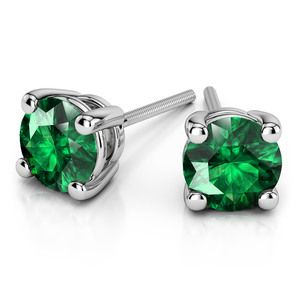 Tsavorite Round Gemstone Stud Earrings in White Gold (3.4 mm)