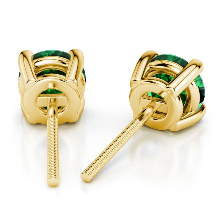 Tsavorite Round Gemstone Stud Earrings in Yellow Gold (3.4 mm) | 02