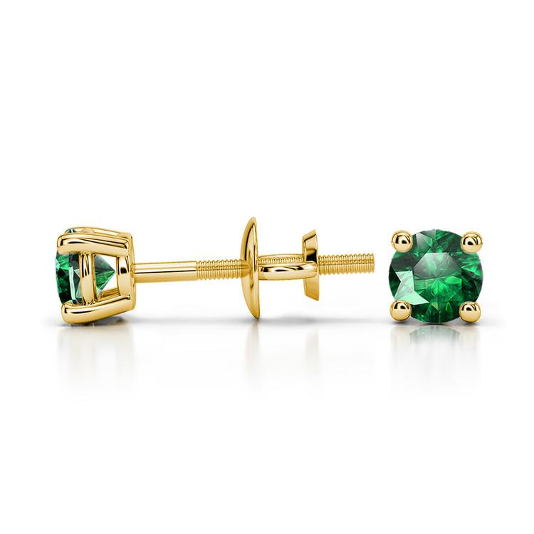 Tsavorite Round Gemstone Stud Earrings in Yellow Gold (3.4 mm) | 03