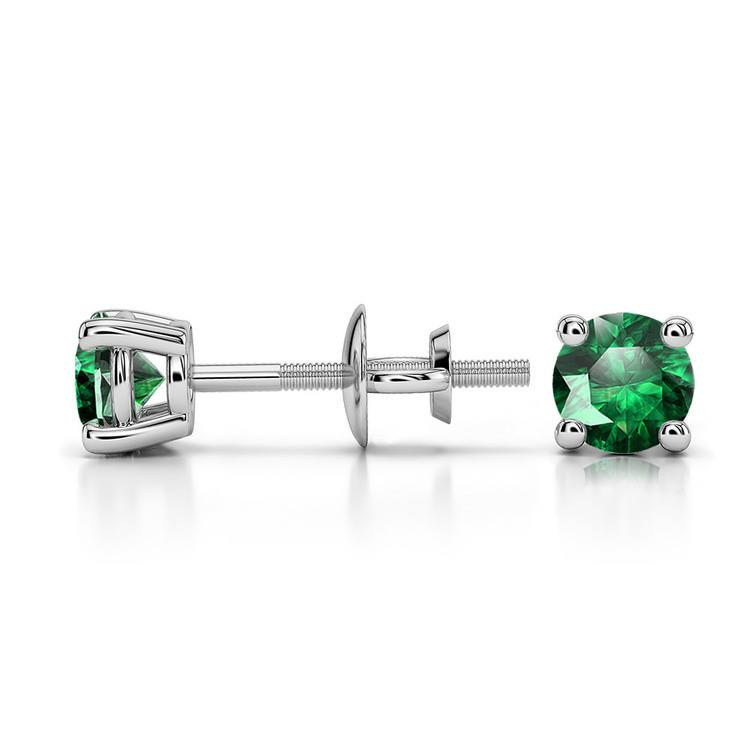 Tsavorite Round Gemstone Stud Earrings in Platinum (4.1 mm) | 03