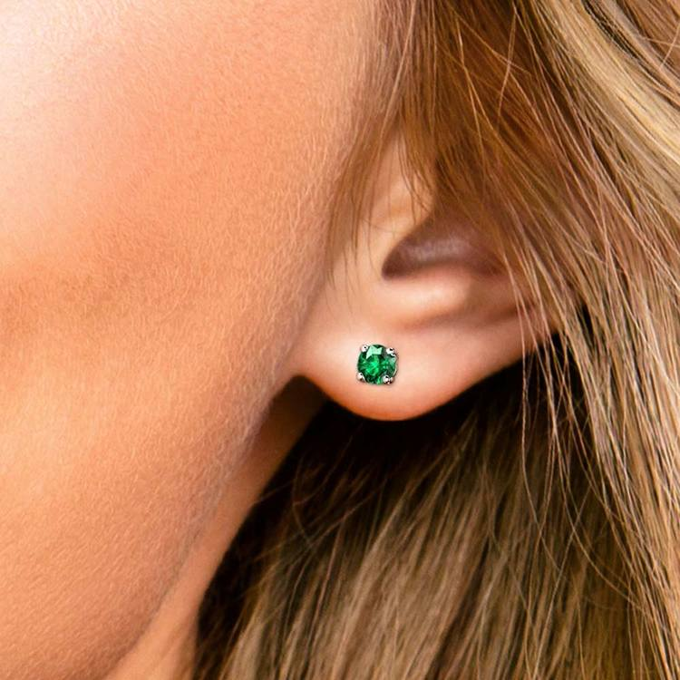 Tsavorite Round Gemstone Stud Earrings in Platinum (4.1 mm) | 04