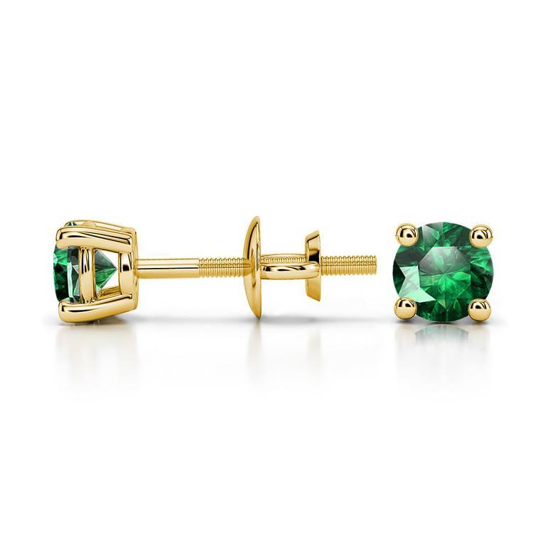 Tsavorite Round Gemstone Stud Earrings in Yellow Gold (4.1 mm) | 03
