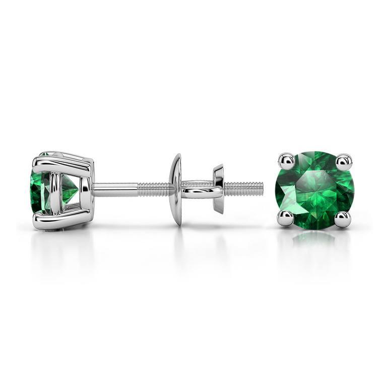 Tsavorite Round Gemstone Stud Earrings in Platinum (4.5 mm) | 03