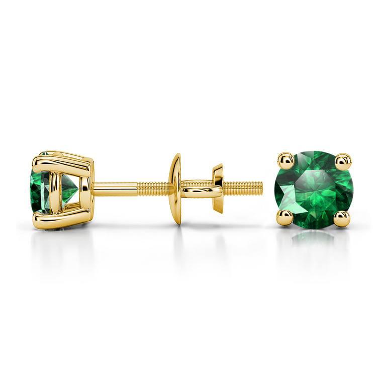 Tsavorite Round Gemstone Stud Earrings in Yellow Gold (4.5 mm) | 03