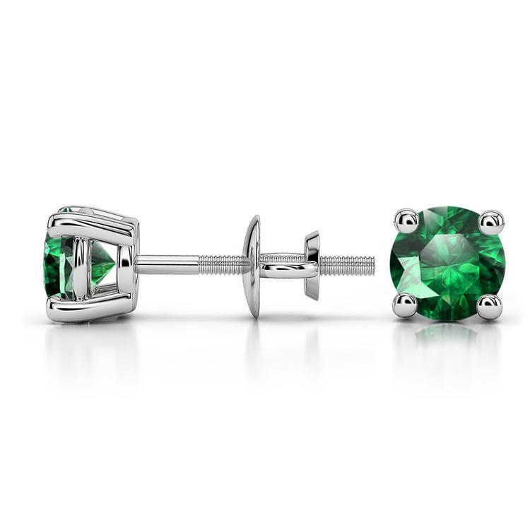 Tsavorite Round Gemstone Stud Earrings in Platinum (5.1 mm) | 03