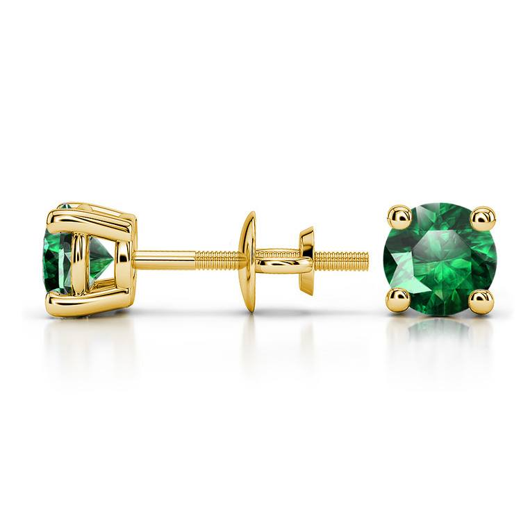 Tsavorite Round Gemstone Stud Earrings in Yellow Gold (5.1 mm) | 03