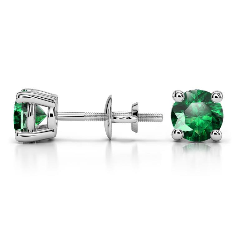 Tsavorite Round Gemstone Stud Earrings in White Gold (5.9 mm) | 03