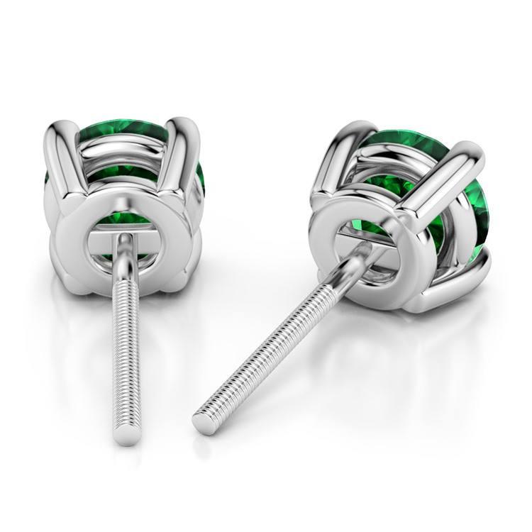 Tsavorite Round Gemstone Stud Earrings in Platinum (6.4 mm) | 02