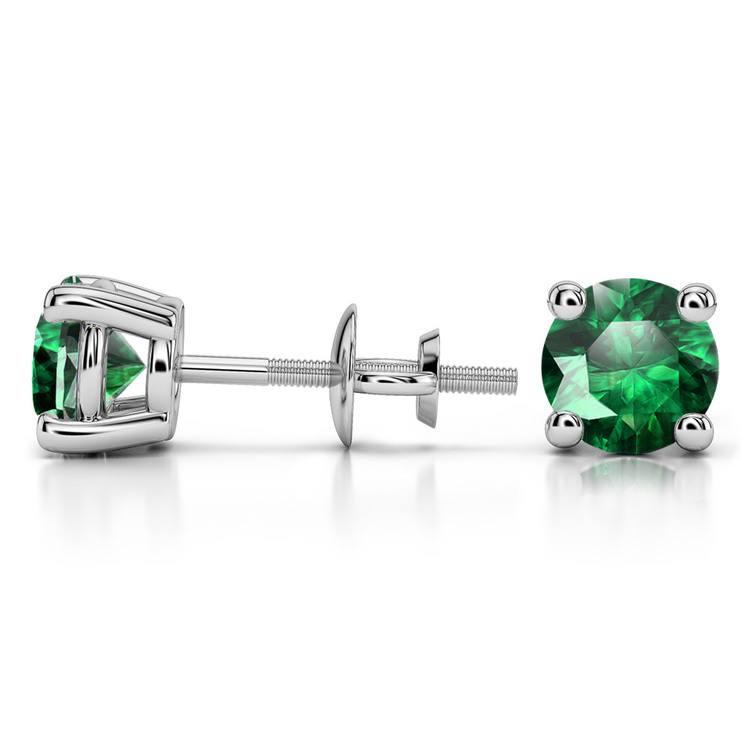 Tsavorite Round Gemstone Stud Earrings in Platinum (6.4 mm) | 03