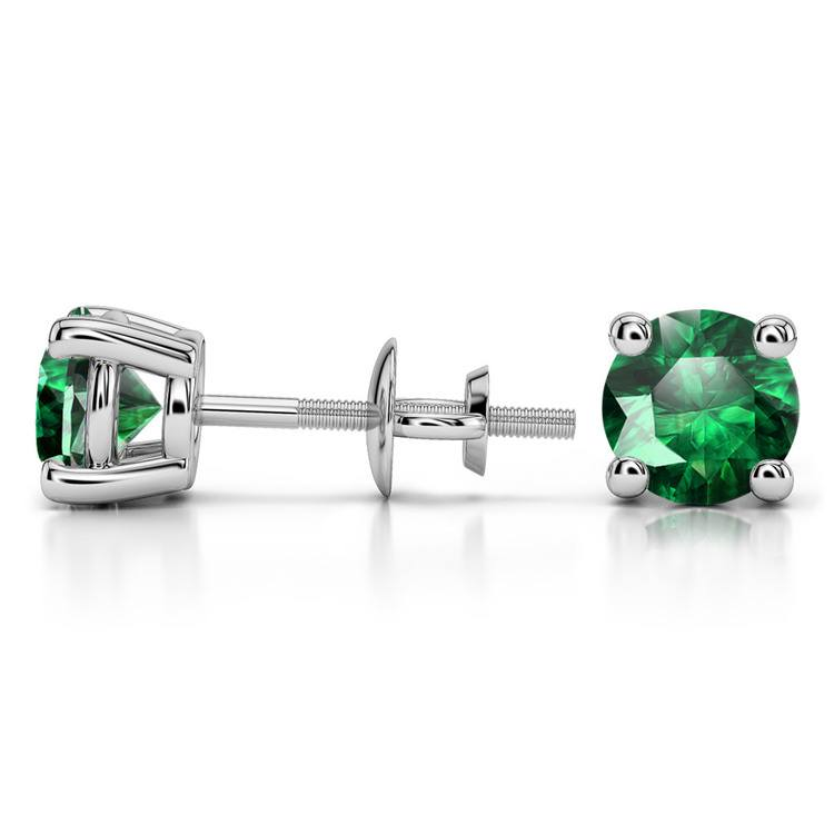 Tsavorite Round Gemstone Stud Earrings in White Gold (6.4 mm) | 03