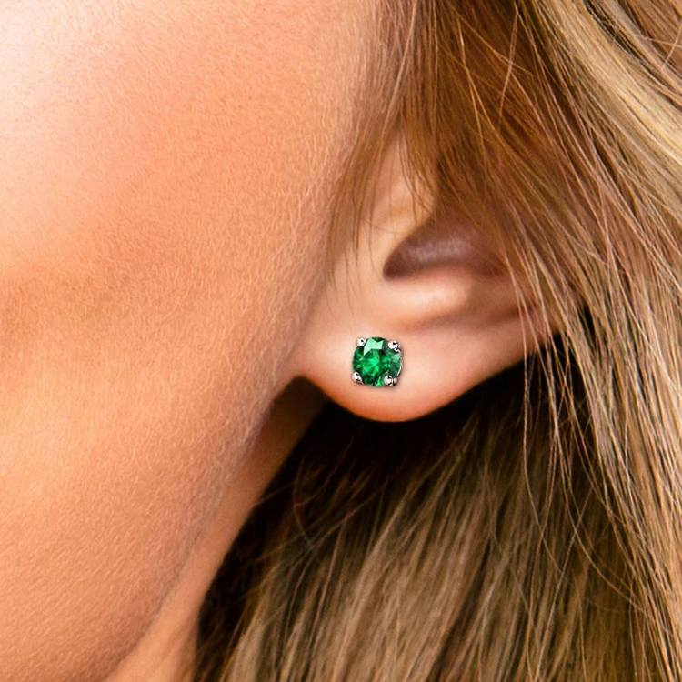 Tsavorite Round Gemstone Stud Earrings in White Gold (6.4 mm) | 04