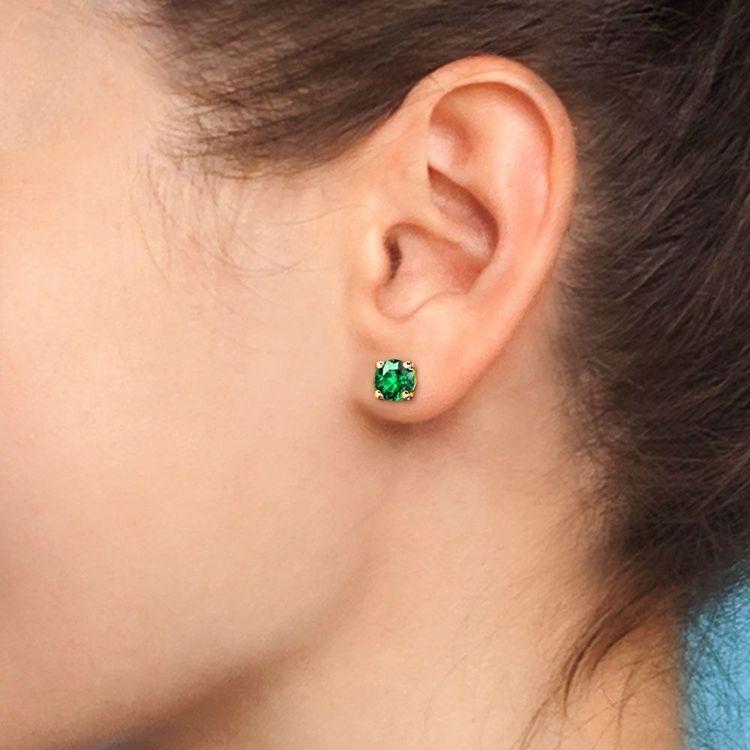 Tsavorite Round Gemstone Stud Earrings in Yellow Gold (6.4 mm) | 04