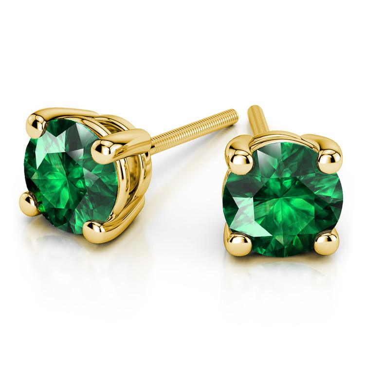 Tsavorite Round Gemstone Stud Earrings in Yellow Gold (6.4 mm) | 01
