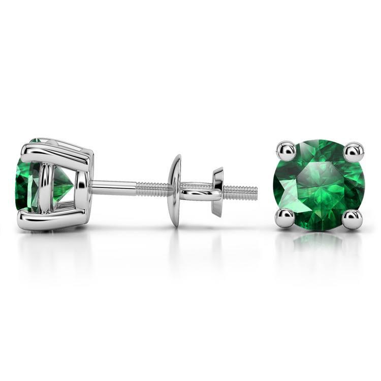 Tsavorite Round Gemstone Stud Earrings in Platinum (7.5 mm) | 03
