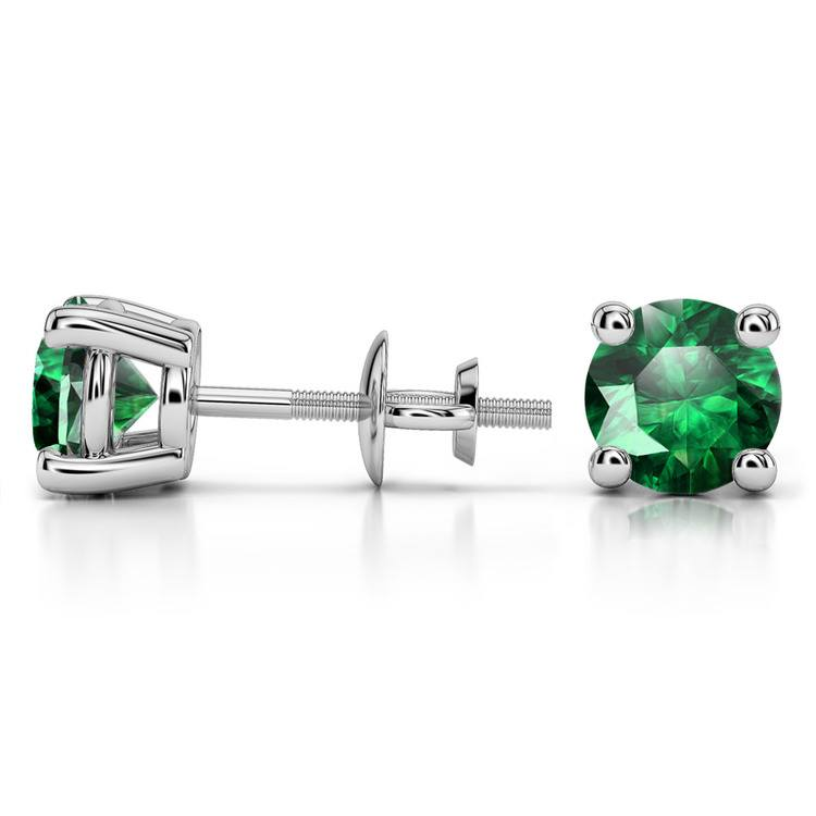 Tsavorite Round Gemstone Stud Earrings in White Gold (7.5 mm) | 03