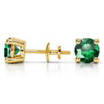 Tsavorite Round Gemstone Stud Earrings in Yellow Gold (7.5 mm) | Thumbnail 01