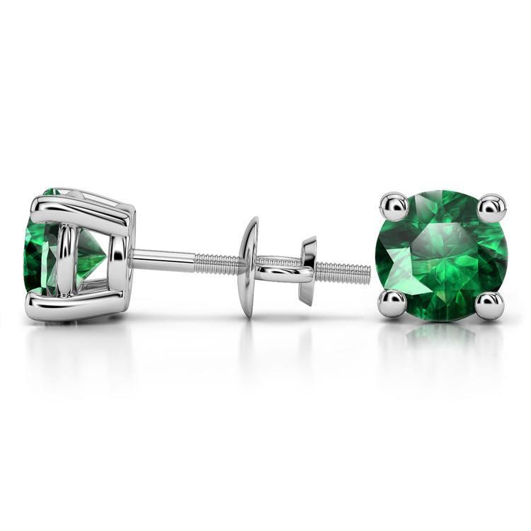 Tsavorite Round Gemstone Stud Earrings in Platinum (8.1 mm) | 03