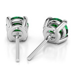 Tsavorite Round Gemstone Stud Earrings in White Gold (8.1 mm) | Thumbnail 01