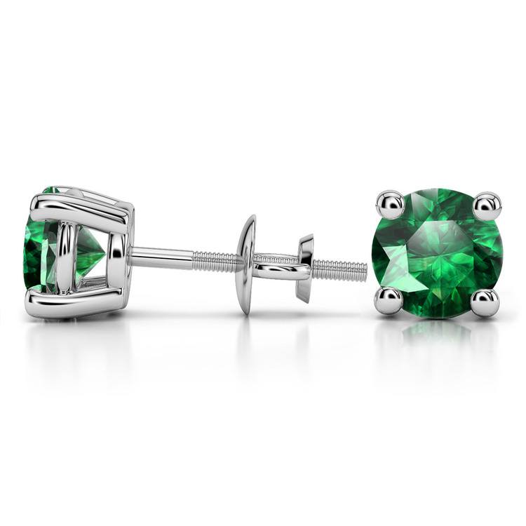 Tsavorite Round Gemstone Stud Earrings in White Gold (8.1 mm) | 03
