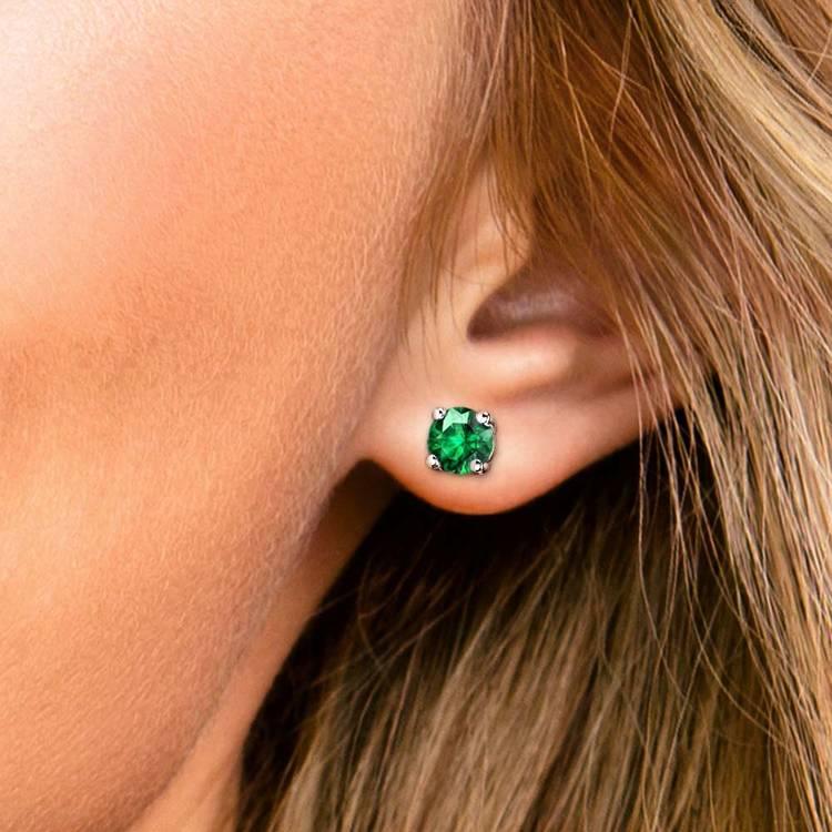 Tsavorite Round Gemstone Stud Earrings in White Gold (8.1 mm) | 04