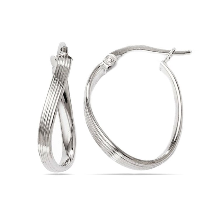 Twisted Groove Oval Hoop Earrings in White Gold | 01