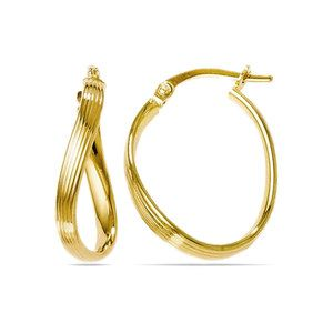 Twisted Groove Oval Hoop Earrings in Yellow Gold