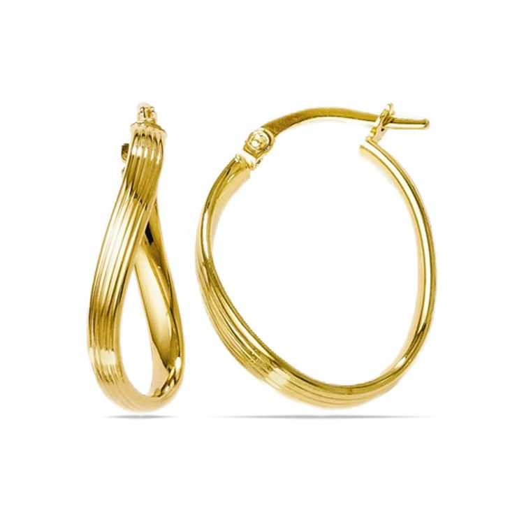 Twisted Groove Oval Hoop Earrings in Yellow Gold | 01