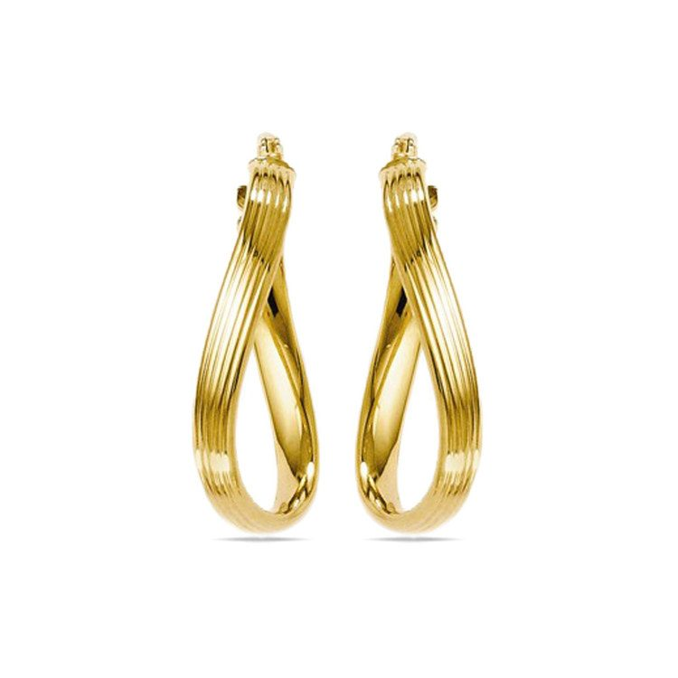 Twisted Groove Oval Hoop Earrings in Yellow Gold | 02
