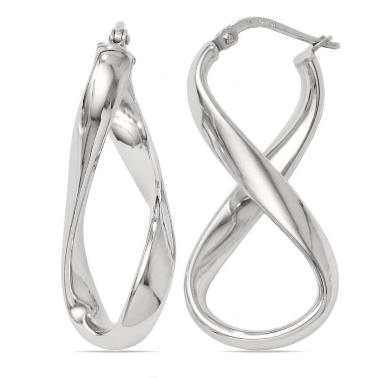Twisted Infinity Hoop Earrings in Silver | 01