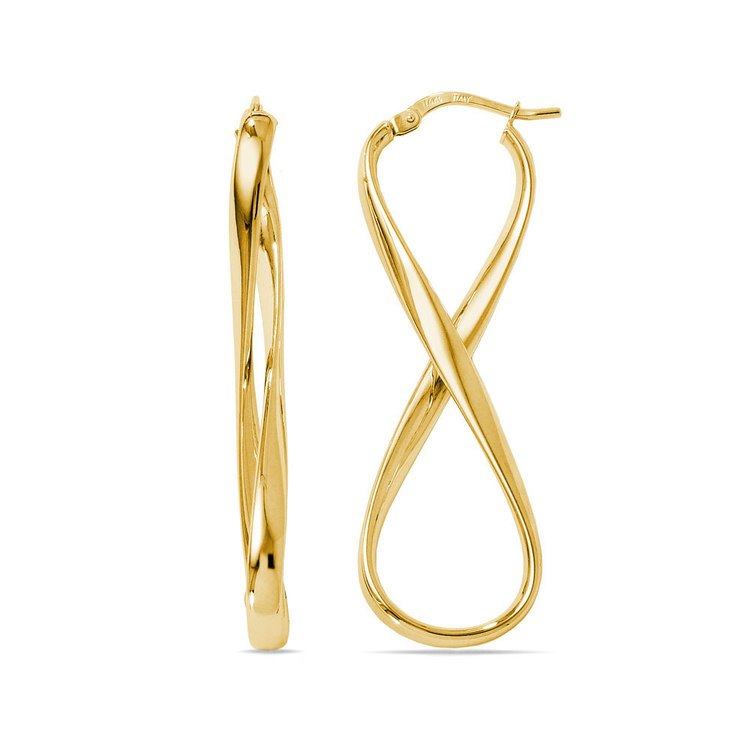 Twisted Infinity Hoop Earrings in Yellow Gold | 01