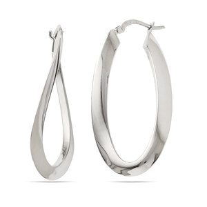 Twisted Oval Hoop Earrings in White Gold